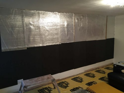 sound barrier layer and barrier mat layer applied to wall