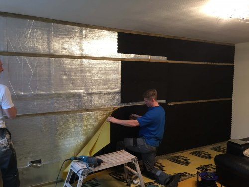 Egg Box being applied in between battens on deluxe plus system
