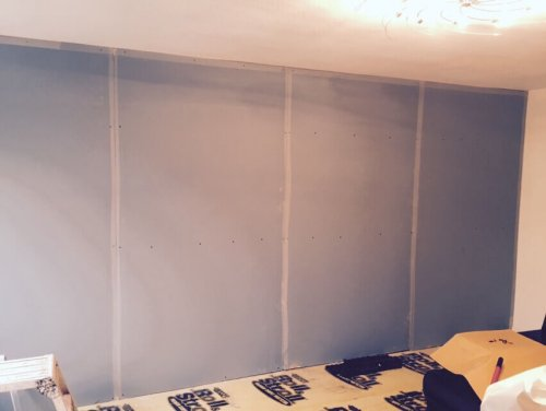 second layer of acoustic plaster board fixed